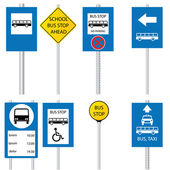 Various bus stop signs
