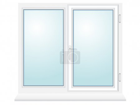 Illustration for Closed plastic glass window vector illustration isolated on blue background - Royalty Free Image