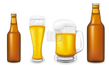 Illustration pour Bière en verre et illustration vectorielle bouteille isolée sur fond blanc - image libre de droit