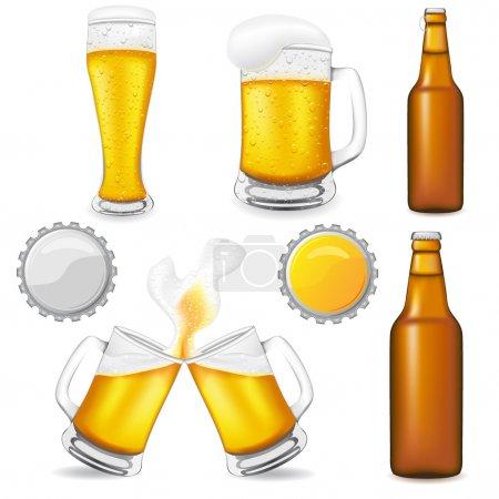 Illustration pour Ensemble d'illustration vectorielle de bière isolé sur fond blanc - image libre de droit