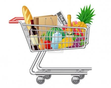 Illustration pour Panier avec illustrations vectorielles d'achats et d'aliments - image libre de droit