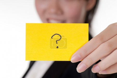 Question symbol on business card holding by Asian ...