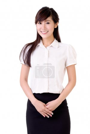 Photo for Portrait of Asian business woman with smiling expression over white background. - Royalty Free Image