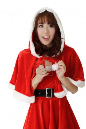Photo pour Asiatique fille de Noël avec sourire heureux expression contre blanc . - image libre de droit