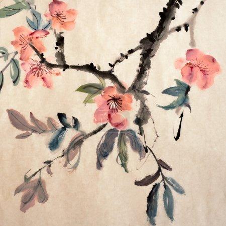 Photo pour Peinture chinoise de fleurs, gloire du matin, sur papier d'art. - image libre de droit