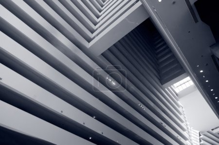 Photo for Abstract modern architecture background indoor in blue. - Royalty Free Image