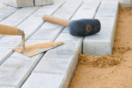 Photo for Stone blocks laying down on sand - Royalty Free Image