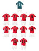 Red Football team shirts