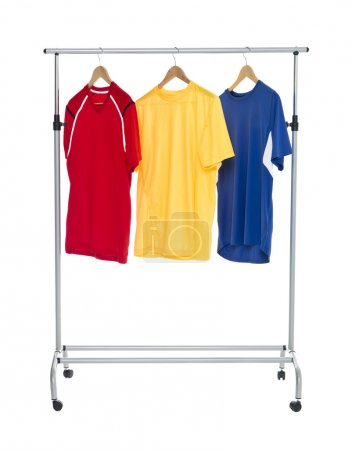 Colored Shirts on a Clothes Rack