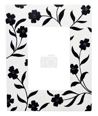 Photo pour Cadre avec des fleurs isolées sur fond blanc - image libre de droit