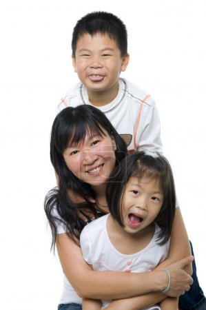 Photo for Asian mother and children on white background - Royalty Free Image