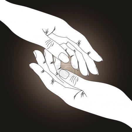 Illustration pour Deux mains sur fond sombre - image libre de droit