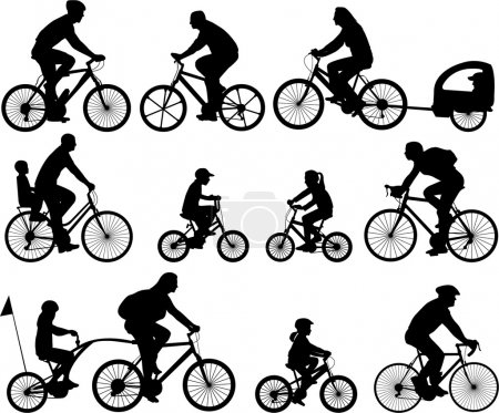 Photo pour Collection de silhouettes de cyclistes - vecteur - image libre de droit