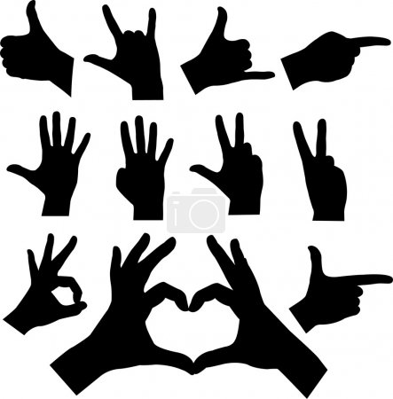 Illustration for Collection of hands silhouettes - vector - Royalty Free Image