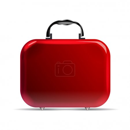Illustration for A glossy red suitcase with rounded corners and silvery details - Royalty Free Image