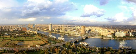 Sunny panorama of Cairo city from tower...