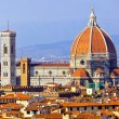 Rooftop view of medieval Duomo cathedral in Floren...