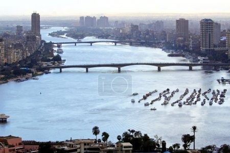 Aerial cityscape of Nile River in Cairo...