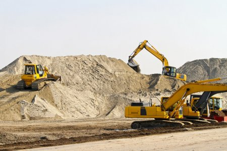 Photo for Heavy machinery equipment at road construction site - Royalty Free Image