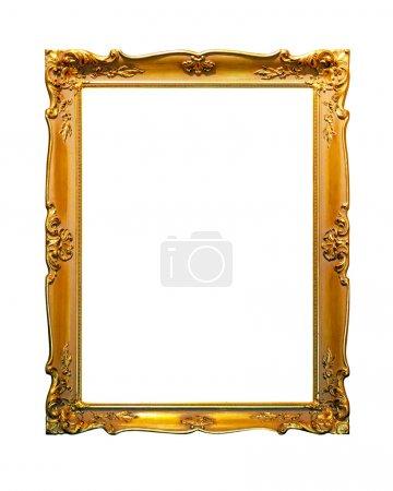 Photo pour Portrait cadre doré isolé inclus chemin de coupe - image libre de droit
