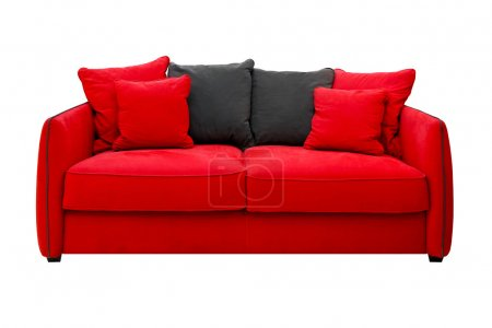 Photo for Red sofa with pillows isolated included clipping path - Royalty Free Image