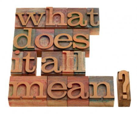 Photo for What does it all mean - spiritual and philosophical question in vintage wooden letterpress printing blocks isolated on white - Royalty Free Image