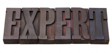 Photo pour Mot d'expert en blocs d'impression de typographie en bois antique, teinté par des encres de couleur, isolé sur blanc - image libre de droit