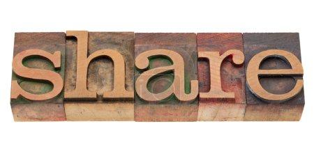 Share word in letterpress type