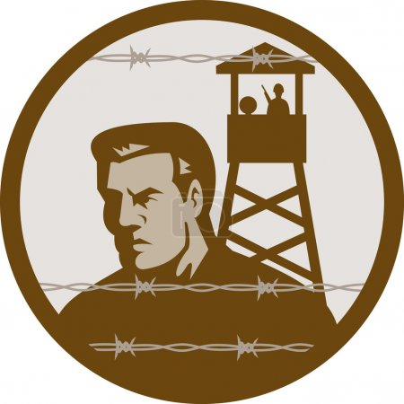 Prisoner of war in a concentration camp with guard tower