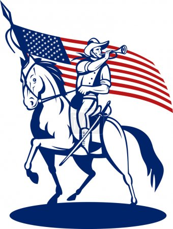 American cavalry soldier riding horse bugle and flag