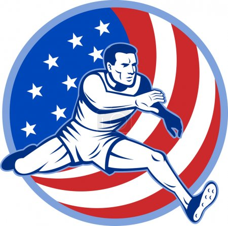 Track and field athlete jumping stars and stripes