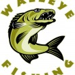 Illustration of a Walleye fish jumping isolated on...