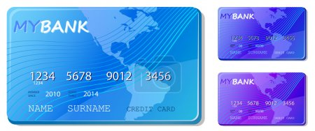 Blue credit and debit card icon