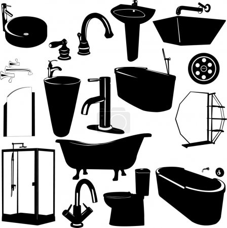 Illustration for Set of bathroom objects vector - Royalty Free Image