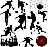 Bowling silhouettes - vector