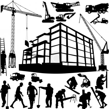 Illustration for Construction objects vector (crane - worker - building - skimmer) - Royalty Free Image
