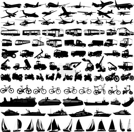 Illustration for Transportation silhouettes collection - vector - Royalty Free Image