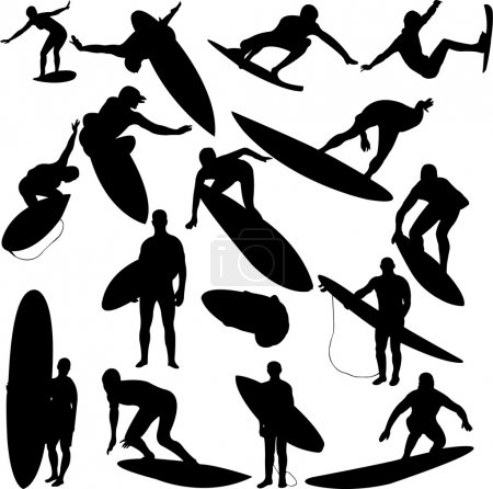 Illustration for Surfers collection - vector - Royalty Free Image