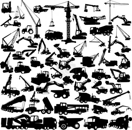 Illustration for Construction machine big collection vector - Royalty Free Image
