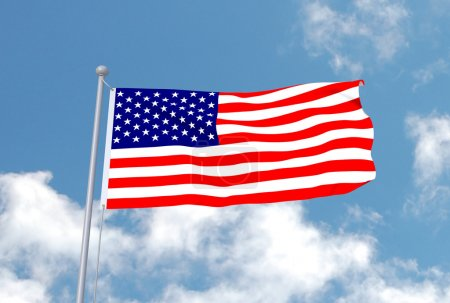 Photo pour Image du drapeau aux États-Unis avec un fond de ciel. - image libre de droit