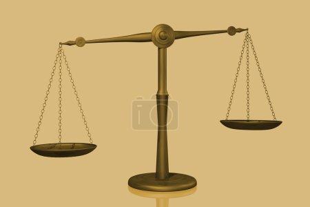 Photo pour Image conceptuelle d'une balance affichée avec une échelle isolée sur un fond blanc . - image libre de droit