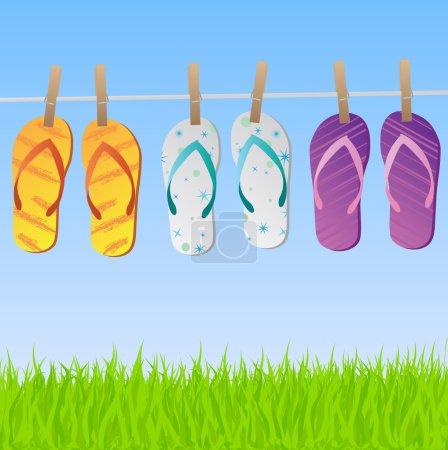 Sandals on Clothes Line