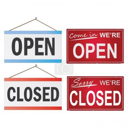 Illustration pour Image de diverses enseignes commerciales ouvertes et fermées isolées sur fond blanc . - image libre de droit