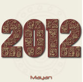 Image of the year 2012 with Mayan ruins isolated on a white background