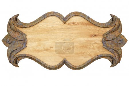 Photo pour Panneau de mur en bois avec une structure en métal. avec un tracé de détourage. - image libre de droit