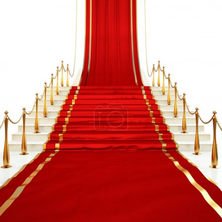 Photo for Red carpet to the stairs lined with gold stanchions on a white background - Royalty Free Image