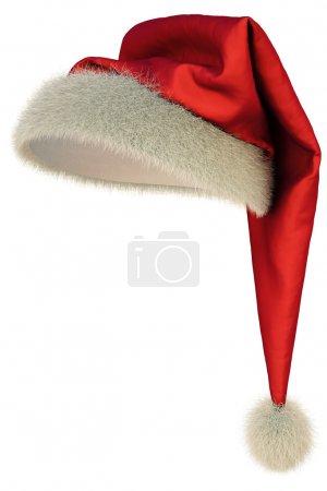 Photo pour Chapeau de Père Noël rouge sur fond blanc, y compris le chemin de coupe - image libre de droit