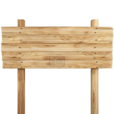 Photo pour Vieux panneau d'affichage en bois. isolé sur blanc . - image libre de droit