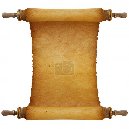 Photo for Ancient antique scroll on white background - Royalty Free Image