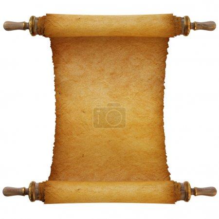 Photo pour Ancien rouleau antique sur fond blanc - image libre de droit